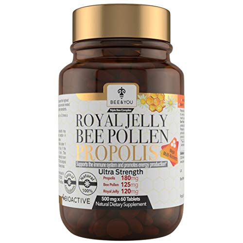 BEE & YOU Royal Jelly, Bee Pollen, Propolis Ultra Strength Immune and Energy Booster Extract 500 mg x 60 Tablets-Rich in Functional Antioxidants, Vitamins and Minerals to Support Your Immune System