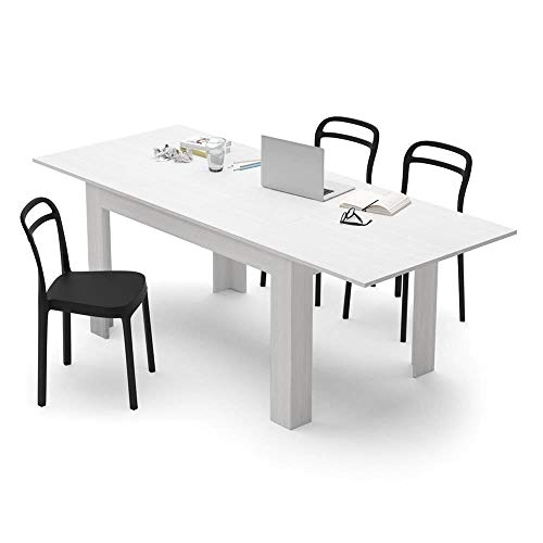 Mobili Fiver, White Ash extendable dining table, Easy, Laminate-finished, Made in Italy