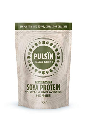 Pulsin Natural Unflavoured Plant Based Vegan Soya Protein Powder 1kg (Gluten Free / Palm Oil Free / Dairy Free)