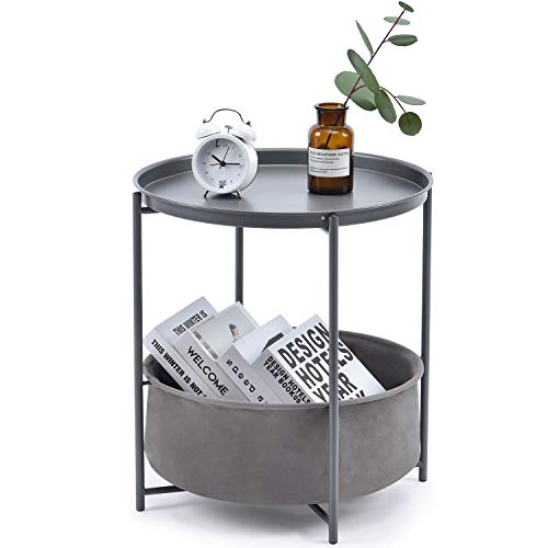 KINGRACK Coffee Round Table,Metal Nightstand,Sofa Side Snack Table,Bedside End Table with Detachable Tray Top and fabric Storage Basket, Scandi Style Lamp Table for Living Room Bedroom (Dark Grey)