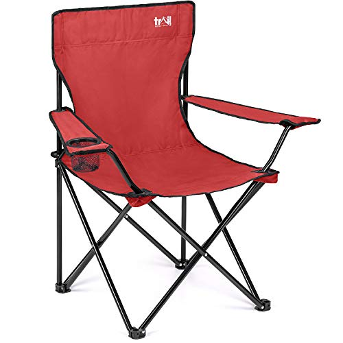 Trail Red Camping Chair Lightweight Folding Cup Holder Carry Bag 100kg Capacity