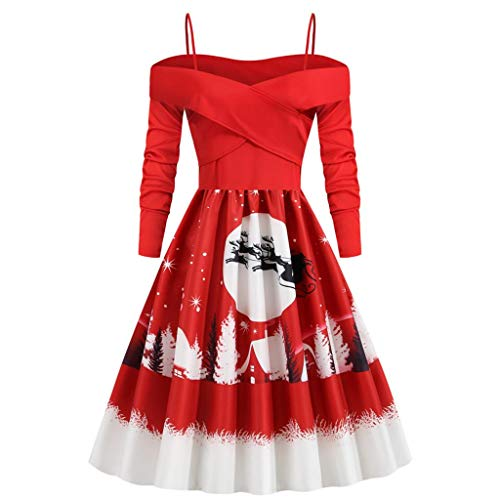 DEELIN Christmas Dresses for Women Plus Size Xmas Gifts Long Sleeve Swing Dress Knee Long Dress Colourful Special Novelty Off Shoulder Cocktail Dress(Red,M)