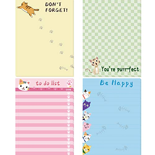 Cats Memo Pads 4 Pack Cute Animal Notepads for Office Home Gifts School Supply to Do List