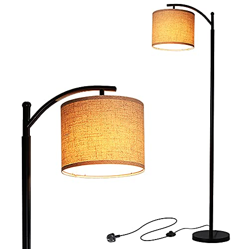 Tomshin-e Led Floor Lamps Classic Arc Energy Saving Standing Lamp with Hanging Lamp Shade and 9W Led Bulb for Living Room Bedroom Office, E26/E27 Socket