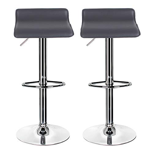 Pair of Grey Bar Stools,Breakfast Bar Stool with Chrome Footrest and Base Swivel Gas Lift Elegant Leather Simple Bar Stool for Kitchen/Breakfast Bar/Counter/Home Furniture
