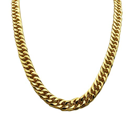 YeahiBaby Faux Gold Chain Necklace 90s Punk Style Necklace Costume Jewelry Cuban Link Chain Hip Hop Turnover Fake Chain Necklace 60cm