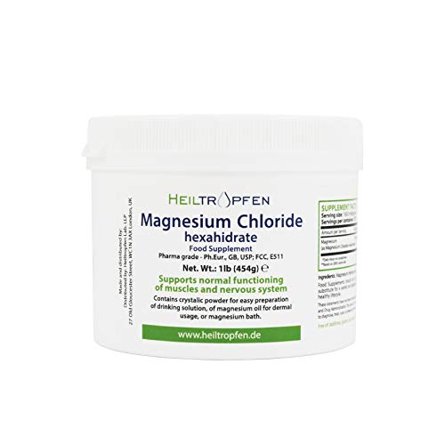 Magnesium Chloride 1 Pound - 454 g | Hexahydrate | Pharmaceutical Grade | Crystal Powder | Pure Ph. Eur, BP, USP, 100% Edible - Muscle Pain Relief | Heiltropfen®