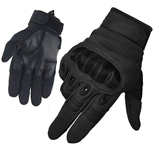 Men's Full Finger Outdoor Sports Working Gloves Camping Hiking Bike Cycling Climbing Cross Country Motorcycle Skiing Gloves (BLACK, L)