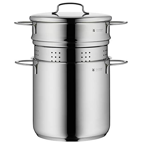WMF 718826040 Pasta Pot 2-piece Ø 18 cm approx. 3l Mini stackable pouring rim metal lid Cromargan stainless steel brushed suitable for all stove tops including induction dishwasher-safe Silver Colours
