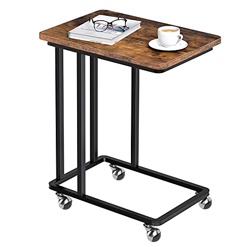 HOOBRO Side Table C Shaped, Mobile End Snack Coffee Tray Table with Removable Wheels, Laptop Table for Small Space, Tall, Slim, Industrial, Work in Bed or on The Sofa, Rustic Brown EBF01SF01