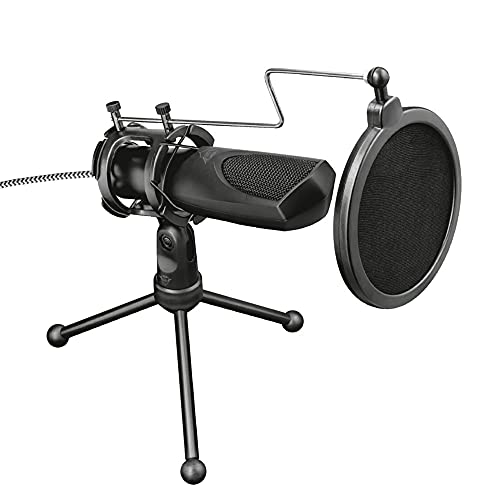 Trust Gaming GXT 232 Mantis Streaming Gaming Microphone for PC, PS4 and PS5, USB Connected, Including Shock Mount, Pop Filter and Tripod Stand, Black