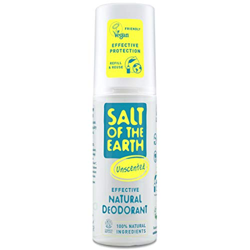 Natural Deodorant Spray by Salt of the Earth, Unscented, Fragrance Free - Vegan, Long Lasting Protection, Leaping Bunny Approved, Made in the UK - 100ml