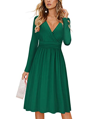OUGES Women's Casual Long Sleeve Midi V-Neck Wrap Waist Party Dress with Pockets(Green,XL)