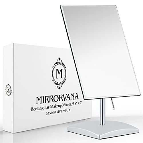 Mirrorvana Large Free Standing Mirror for Bathroom Countertop, Dressing Table and Vanity Set - Classic Face Mirror For Makeup and Shaving - 25 x 18cm