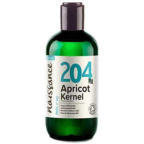 Naissance Organic Apricot Kernel Oil (no. 204) 250ml - Pure, Natural, Certified Organic, Cold Pressed, Vegan, Hexane Free, No GMO - Massage Base Oil - Moisturises & Conditions Hair & Skin