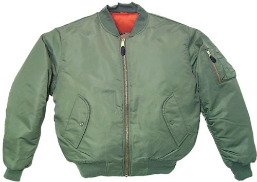 MA1 BOMBER JACKET WITH HEAVY BRASS ZIP (L, SAGE GREEN)