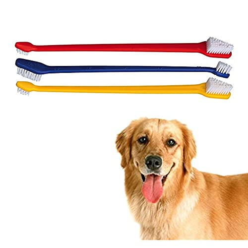 SystemsEleven 3 x Double Ended Dog & Cat Dental Oral Care Toothbrush Healthy Pet Grooming Tool