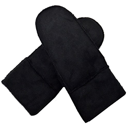 LA HAUTE Mens Winter Thick Suede Mittens Windproof Gloves, Black, One Size