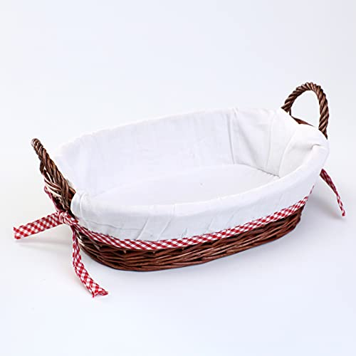 woodluv Oval Wicker Hamper Basket With White Lining 38x28cm
