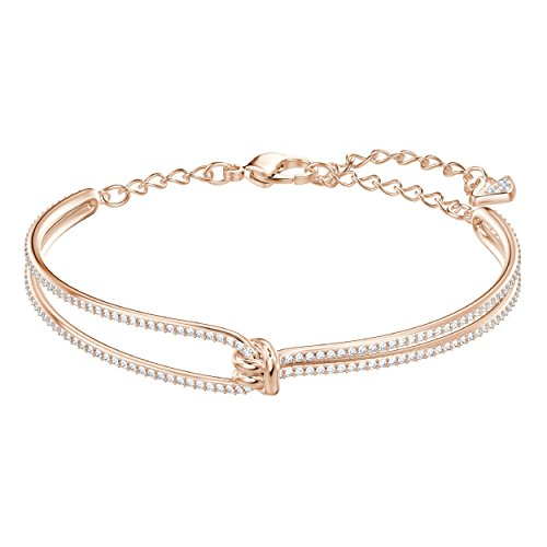 Swarovski Women's Lifelong Bangle Bracelet, Brilliant White Crystals with Rose-gold plated Metal, from the Swarovski Lifelong Collection