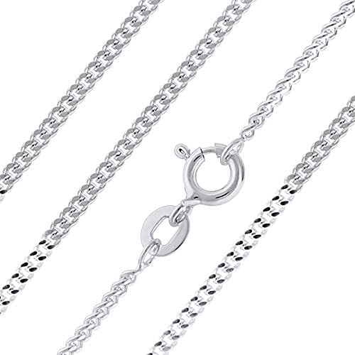 Aeon Jewellery 925 Sterling Silver Necklace - 2mm Diamond Cut Curb Chain   16