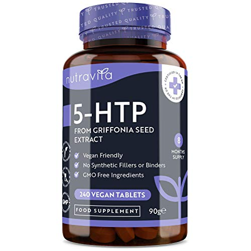 5HTP – 400mg Griffonia Seed Extract – 240 Vegan Tablets – 8 Months Supply of High Strength 5-HTP - 50mg from 400mg Griffonia Seed Extract – Made in The UK by Nutravita