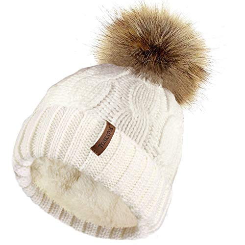 TOSKATOK® Ladies Chunky Soft Cable Knit hat with Cosy Fleece Liner and Detachable Faux Fur Pompom-Cream