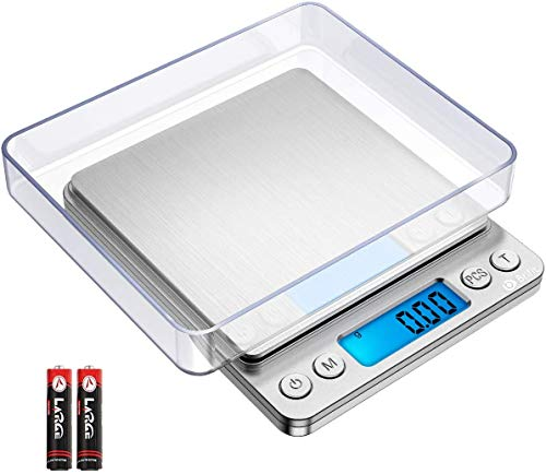 Brifit Digital Pocket Scales, 500g High-Precision Kitchen Scales, Stainless Steel Jewelry Scales with Two Trays, Back-Lit LCD Display, 0.01g Precision, Tare and PCS Features, Batteries Included