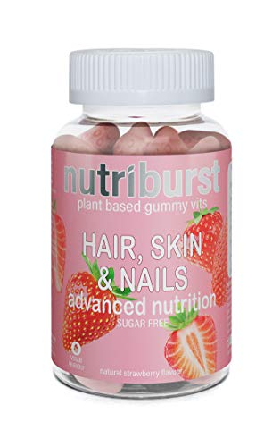 NUTRIBURST | Hair Skin and Nails Gummies | Biotin Zinc Vitamin E for thicker hair & stronger nails | Sugar Free Supplements | 60 Gummies 1 Month Supply | Plant Based Suitable for Vegetarians & Vegans