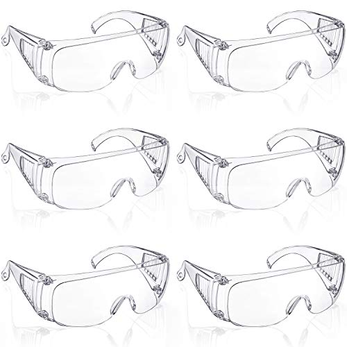 6 Packs Protective Polycarbonate Eyewear Clear Safety Goggles Anti-Fog Glasses with Impact Resistant Lens for Construction Laboratory Outdoor Eye Protection
