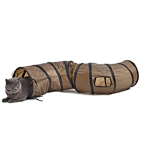 PAWZ Road S Form Long Play Cat Tunnel Crinkle Toy for Cats 25cm Tunnel for Indoor Use (Brown)