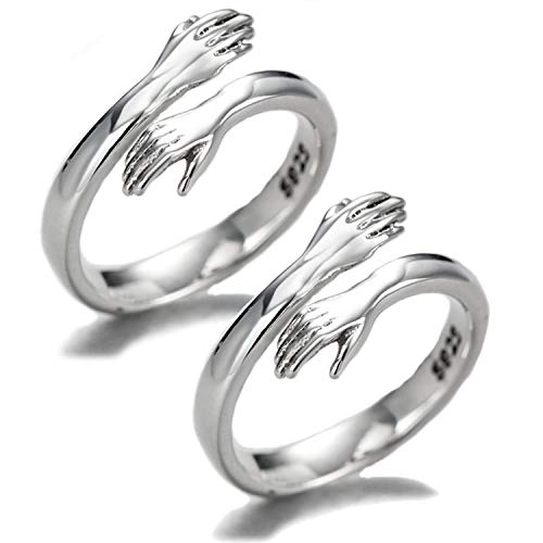 Couple Hug Ring, 925 Sterling Silver Huging Ring for Couple Women Girls Jewelry 2PCS