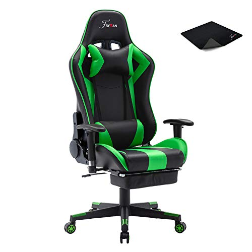 Ergonomic Racing Gaming Chair Swivel PU Leather Gamer Home Office Desk Chair with Footrest Lumbar Cushion Head Support Adjustable Armrests (07 Green)