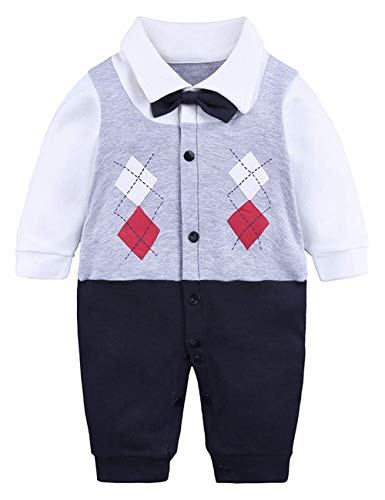 Toddler Baby Boys Clothes Infant Jumpsuit Outfit Set, Grey, 12-18M