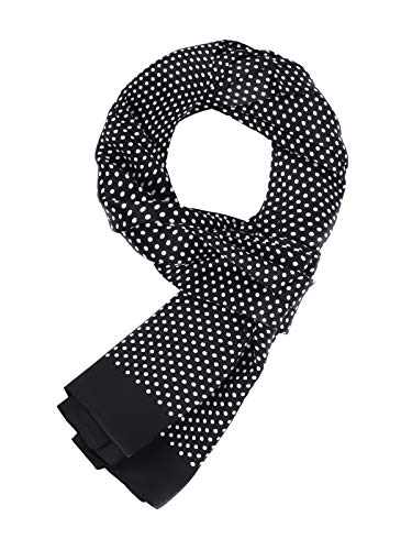 WANYING Elegant Silk Scarf for Men 100% Silk 11 Momme Men's Scarf Double Sided for Spring Summer Autumn Casual Business 155 x 26 cm - Black - One size