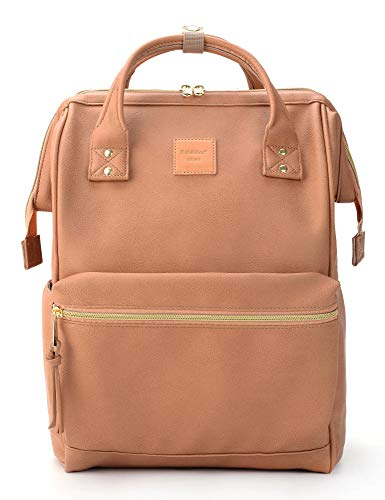 Kah&Kee Leather Backpack Diaper Bag with Laptop Compartment Travel School for Women Man (Large, Pink)
