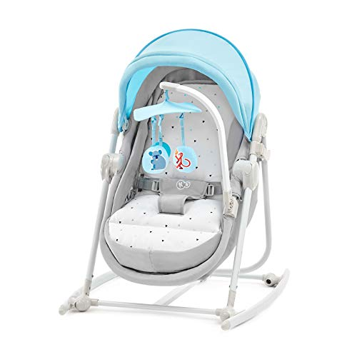 Kinderkraft Chair Bouncer UNIMO 5in1 Rocker Swing Cot Folded with Removable Toy Bar Lying Position Adjustable Backrest Mosquito Net Harness for Newborn Baby Toddlers to 3 Years Blue