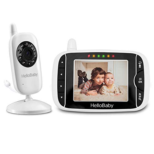 HelloBaby HB32 Wireless Video Baby Monitor with Digital Camera, 3.2 Inch Screen Night Vision Temperature Monitoring & 2 Way Talkback System UK Interface Plug, White