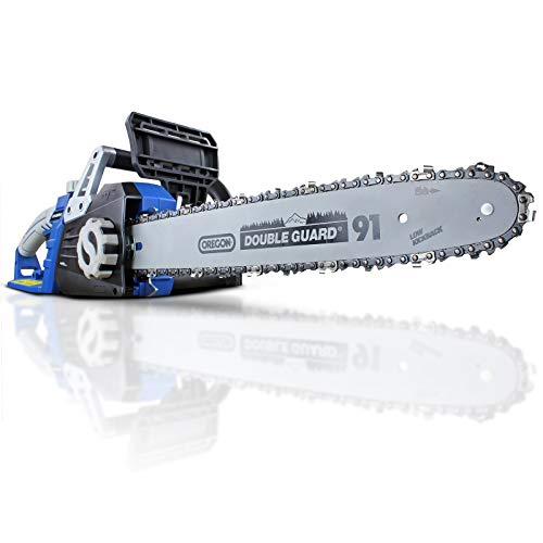 Hyundai Electric Chainsaw Corded. Powerful 2400 Watt 230V Chain Saw for Cutting Trees & Logs. 3 Year Warranty, 16-Inch Oregon Guide Bar and Chain, 12m Power Cable, Auto Chain Lubrication. HYC2400E