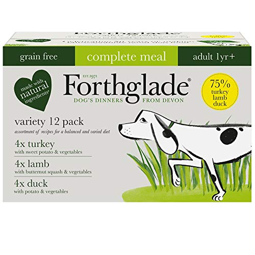 Forthglade Complete Natural Wet Dog Food - Grain Free Variety Pack (12 x 395 g) Trays - Turkey, Lamb & Duck