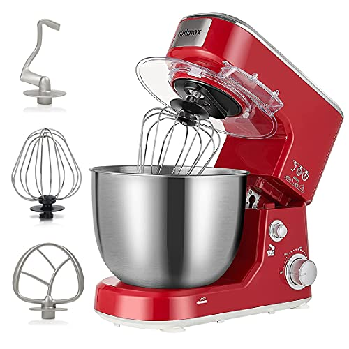 Mixer, Cusimax Stand Mixer, Food Mixer with 5L Stainless Steel Bowl, Tilt-Head Cake Mixer for Baking with Dough Hook, Beater and Whisk, Splash Guard, Electric Mixer, Red