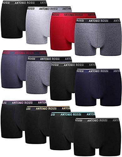 FM London Antonio Rossi Men's Fitted Boxer Hipsters (Pack of 12), Multicolor, Large