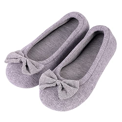 EverFoams Ladies' Comfy Cotton Knit Memory Foam Ballerina Slippers Light Weight Terry Cloth House Shoes w/Stretchable Heel Design, 5/6 UK, Grey