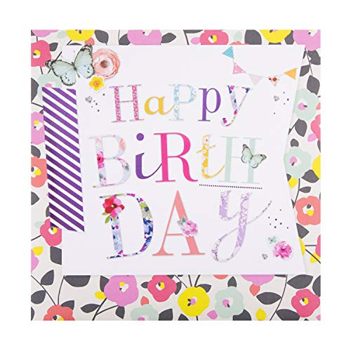 General Birthday Card from Hallmark - Contemporary Floral and Text Design