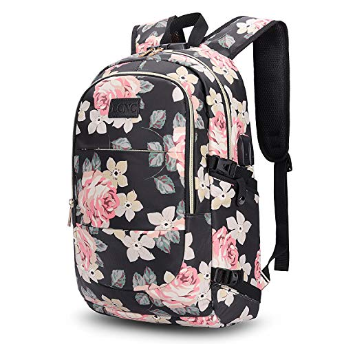 Backpack Womens, Anti Theft Business Travel Laptop Backpack with RFID Signal Blocking Pocket USB Charging Port, Water-Resistant Slim Backpack Fit 15.6 Inch Laptop Computer Work School Rucksack