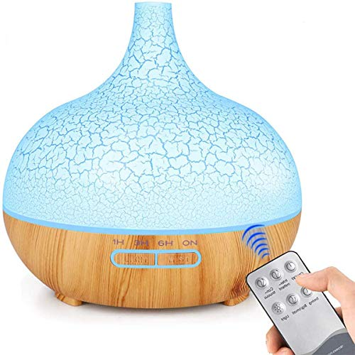 ENHOOTA Diffuser, 400ML Essential Oils Aromatherapy Diffusers Wood Grain Humidifier Electric Ultrasonic Air Aroma Diffuser with 4 Timer, Cool Mist, Waterless Auto-Off, Mist Mode