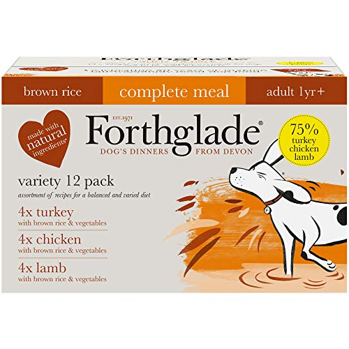 Forthglade Complete Natural Wet Dog Food - Brown Rice Variety Pack (12 x 395 g) Trays - Turkey, Lamb & Chicken