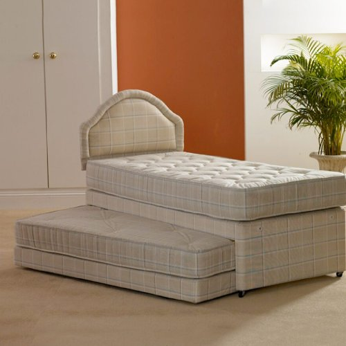 Deluxe Beds Ltd Single 3 In 1 Guest Bed With Deep Quilted Mattresses with Matching Headboard