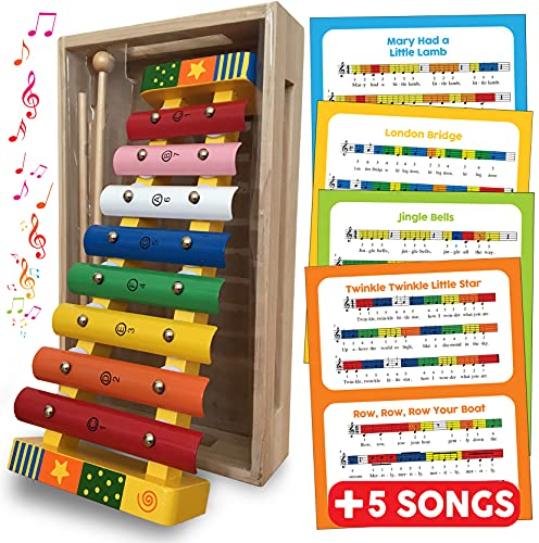 Xylophone Musical Instrument Wooden Toys Glockenspiel Xylophone for Kids - Toddler Gift with FREE SONG SHEETS and Wooden Box 18 mths+ Boys or Girls