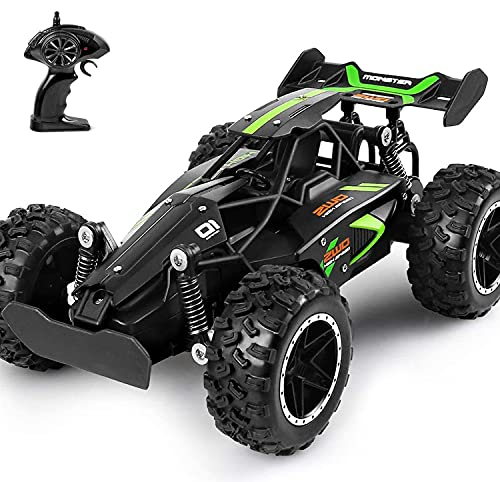 MOSFiATA G03063R 1:18 Scale 2.4Ghz Remote Control Trucks, 15-20 km/h High Speed Racing 2 Lithium Rechargeable Batteries, Electric Toy Car for All Adults & Kids, Green+Black